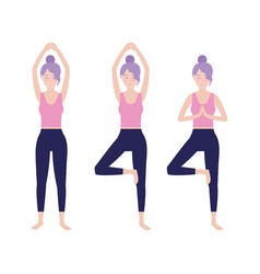 set fitness woman practice exercise vector image