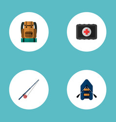 set of camping icons flat style symbols with rod vector image