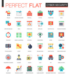 set of flat cyber security icons vector image