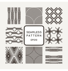 Set of nine abstract seamless patterns vector image