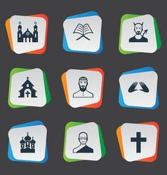 Set of simple faith icons elements orison temple vector