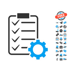 Smart contract gear icon with free bonus vector