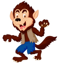 Smiling cartoon werewolf vector