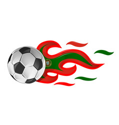 soccer ball on fire with portugal flag vector image