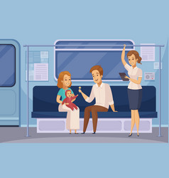 Subway underground metro passengers cartoon vector