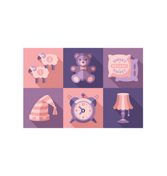 sweet dreams icons set sleep time elements good vector image