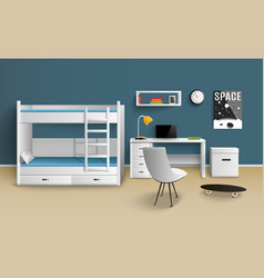 teen boy room realistic vector image