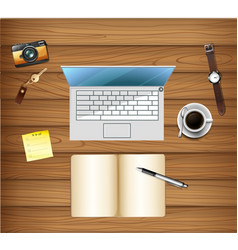 top view of workspace table vector image