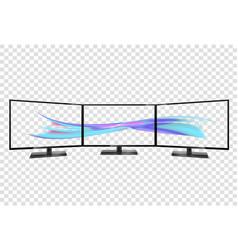 Triple monitor setup super widescreen multiple vector