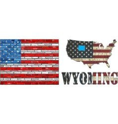 USA state of Wyoming on a brick wall vector image