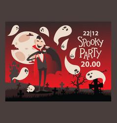 Vampire style halloween party invitation vector