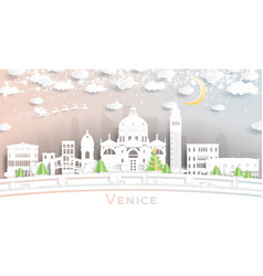 Venice italy city skyline in paper cut style with vector