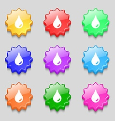 Water drop icon sign symbol on nine wavy colourful vector image