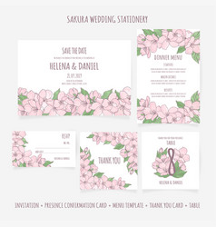 Wedding stationery floral template vector