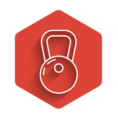 White line kettlebell icon isolated with long vector