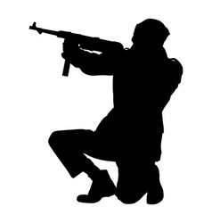 Ww2 army soldier with rifle in battle silhouette vector