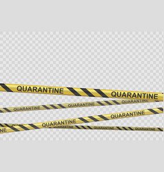 yellow barrier tape with inscription quarantine vector image