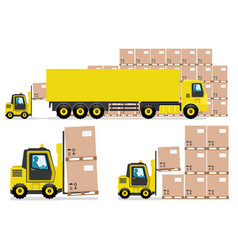 Yellow truck and forklift in warehouse vector