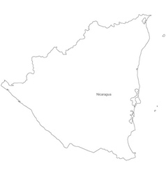 Black White Nicaragua Outline Map vector image vector image