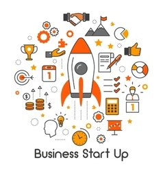 Business Start Up Line Art Thin Icons Set vector image vector image