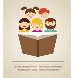 family reading a book with place for vector image vector image