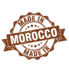 made in morocco round seal vector image vector image
