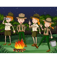 Park rangers working at night vector