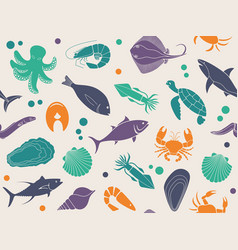 seamless background with pictures of seafood vector image