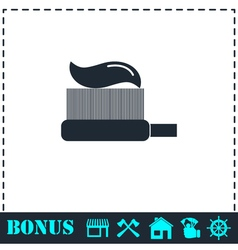 Toothbrush with toothpaste icon flat vector