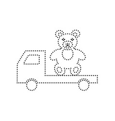 truck with bear black dotted icon on vector image