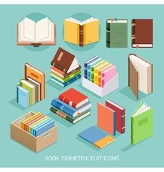 Book Isometric Flat Icons set vector image