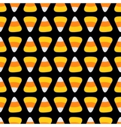 Candy corn Happy Halloween Seamless Pattern Black vector image