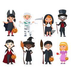 cute halloween kids set cartoon vector image