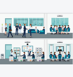 modern office interior room with office desk vector image vector image