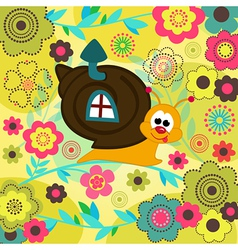 snail in flowers vector image vector image