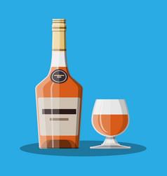 cognac bottle and glass cognac alcohol drink vector image vector image