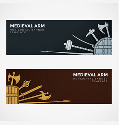 medieval cold steel arms banners vector image