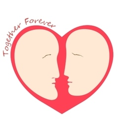 Romantic female and male faces in form of heart vector image