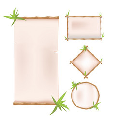 bamboo border frame template design vector image