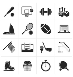 Black Sport objects icons vector image vector image