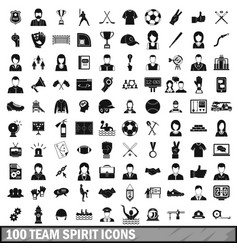 100 team spirit icons set simple style vector