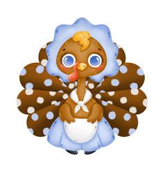 a cute cartoon hostess turkey vector image