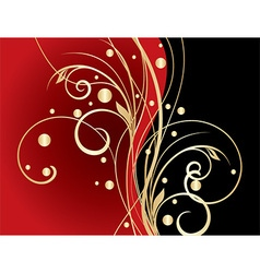 Abstract red floral background vector