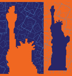 abstract silhouette of statue of liberty vector image