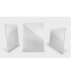 acrylic table displays plastic glass card holders vector image