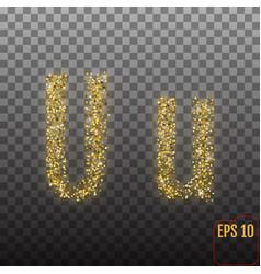 Alphabet gold letter u on transparent background vector
