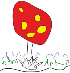 Amanita muscaria grows in forest vector