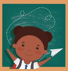 Back to school card with afro student girl vector