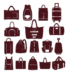 bags Baggage theme icons Collection of Travel bags vector image