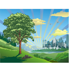 beautiful landscape-sunrise over the city vector image